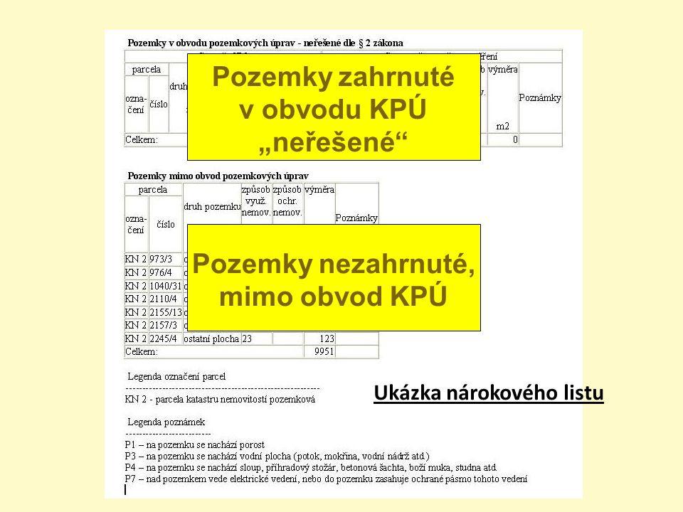 """Ukázka nárokového listu Pozemky zahrnuté v obvodu KPÚ """"neřešené"""" Pozemky nezahrnuté, mimo obvod KPÚ"""