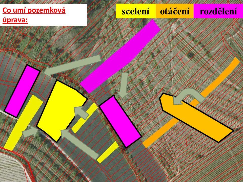 Co umí pozemková úprava: sceleníotáčenírozdělení