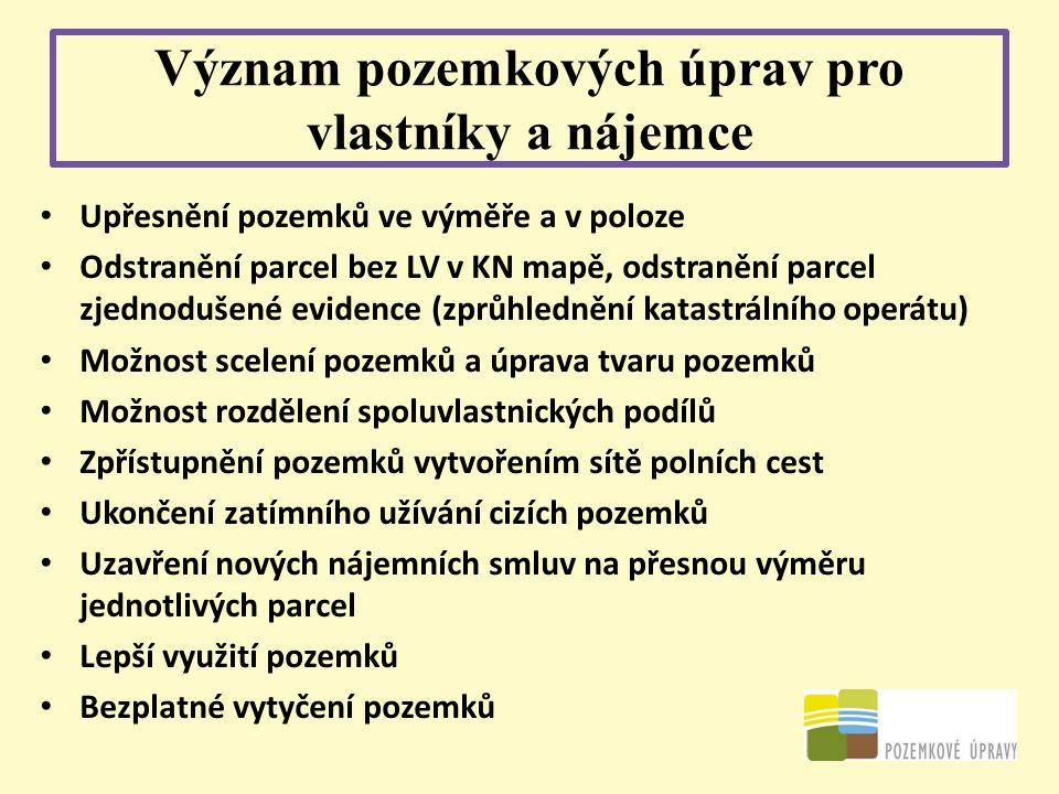 Význam pozemkových úprav pro vlastníky a nájemce Upřesnění pozemků ve výměře a v poloze Odstranění parcel bez LV v KN mapě, odstranění parcel zjednodu