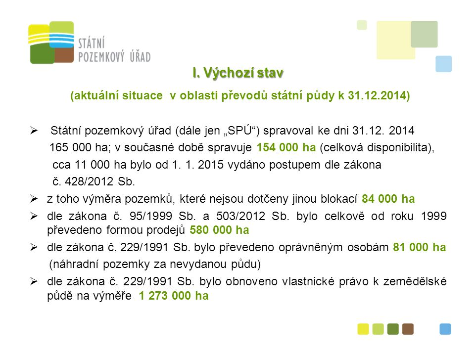 Shrnutí výchozího stavu  pro účely uskutečnění rozvojových programů státu je celkem 550 pozemků o výměře 244,6 ha blokováno nařízením vlády č.