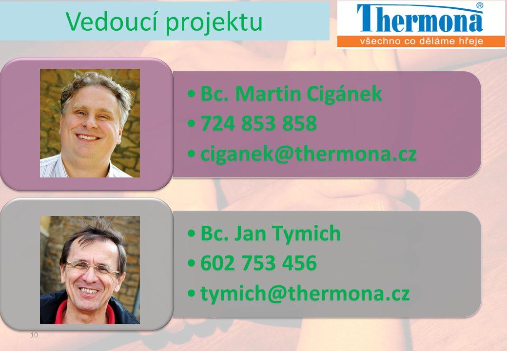 10 Bc. Martin Cigánek 724 853 858 ciganek@thermona.cz Bc. Jan Tymich 602 753 456 tymich@thermona.cz Vedoucí projektu