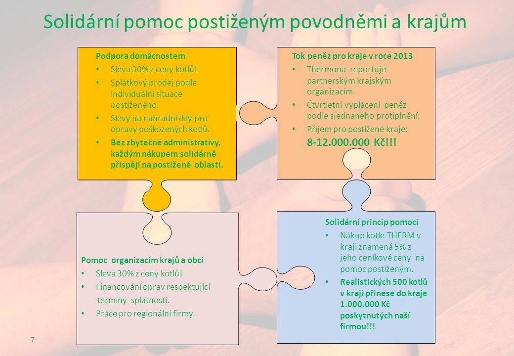 7 Solidární pomoc postiženým povodněmi a krajům Pomoc organizacím krajů a obcí Sleva 30% z ceny kotlů.