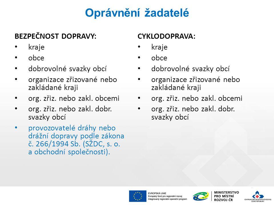 Specifická kritéria přijatelnosti CYKLODOPRAVA Výdaje na hlavní aktivity projektu odpovídají tržním cenám.