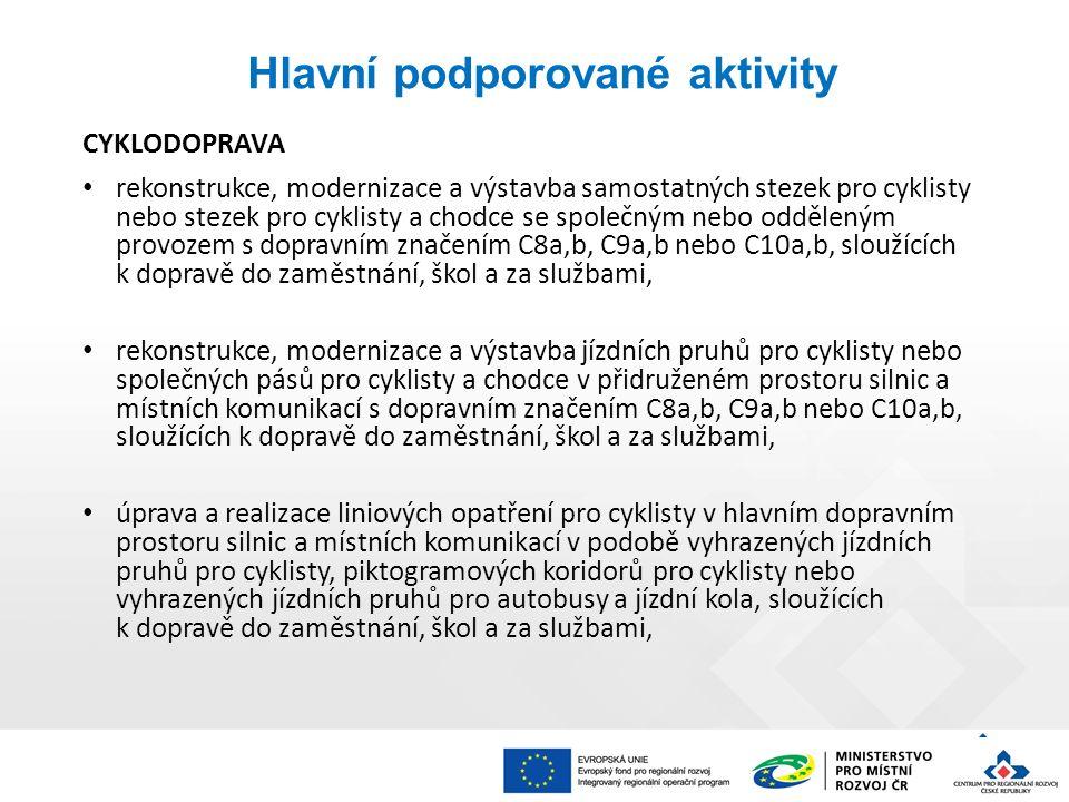 Hlavní podporované aktivity CYKLODOPRAVA je možná kombinace uvedených aktivit, je možná realizace související doprovodné infrastruktury pro cyklisty (např.