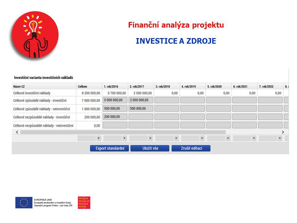 Finanční analýza projektu INVESTICE A ZDROJE