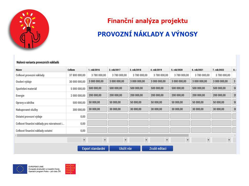 Finanční analýza projektu PROVOZNÍ NÁKLADY A VÝNOSY