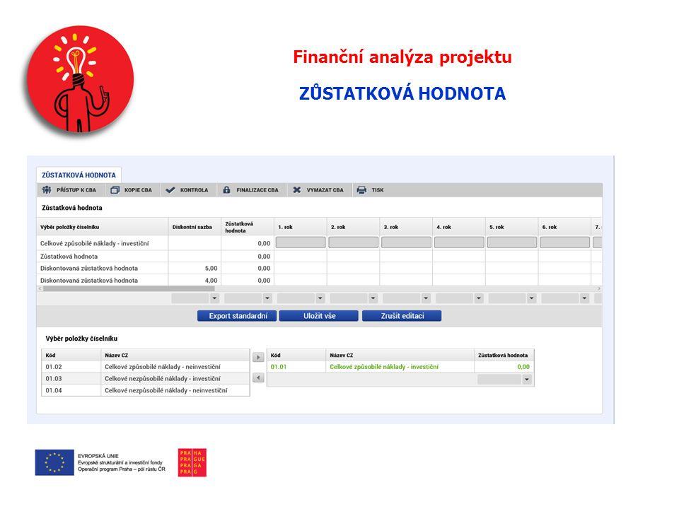 Finanční analýza projektu ZŮSTATKOVÁ HODNOTA