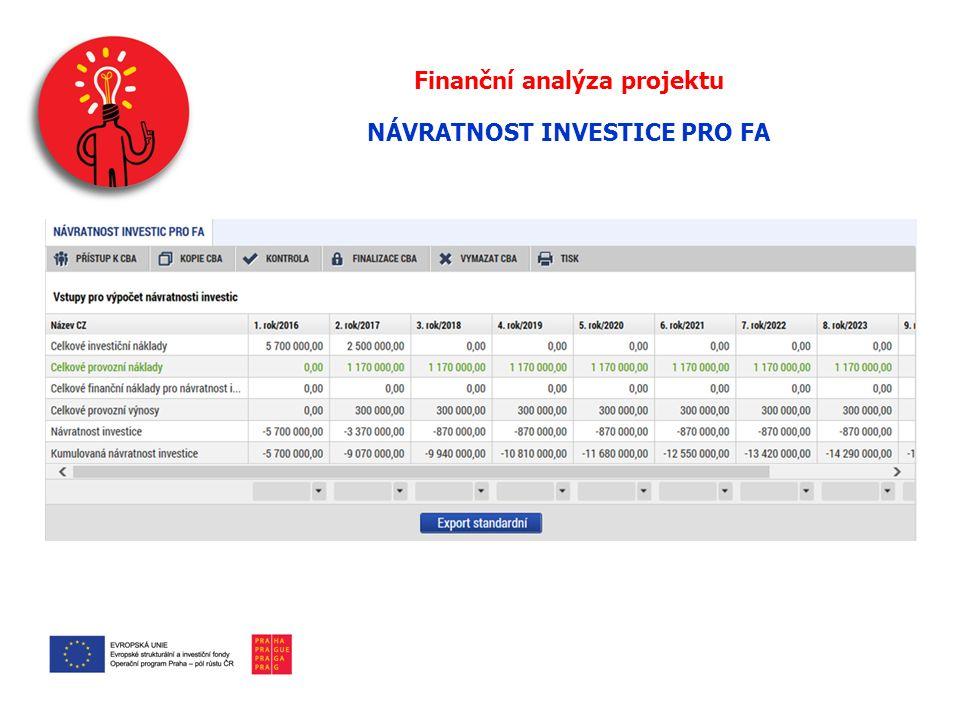 Finanční analýza projektu NÁVRATNOST INVESTICE PRO FA