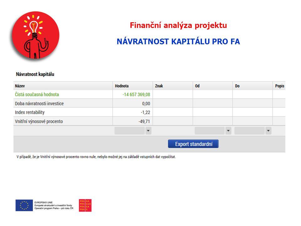 Finanční analýza projektu NÁVRATNOST KAPITÁLU PRO FA