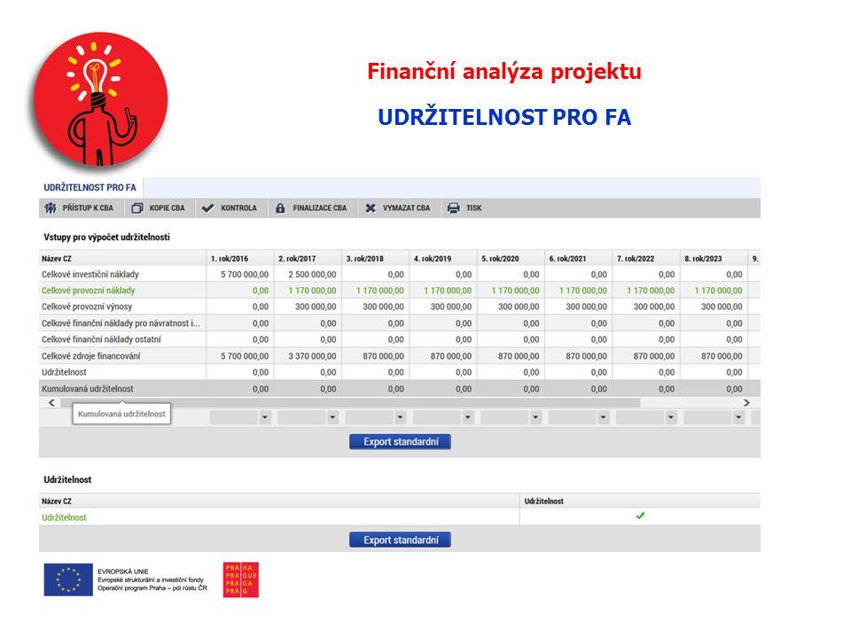 Finanční analýza projektu UDRŽITELNOST PRO FA