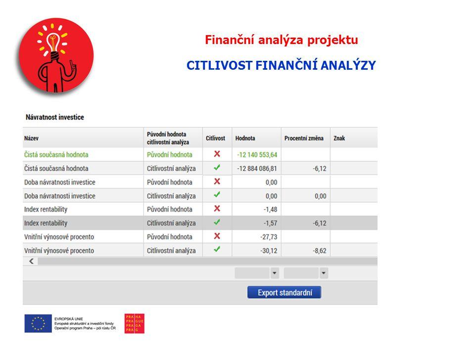 Finanční analýza projektu CITLIVOST FINANČNÍ ANALÝZY