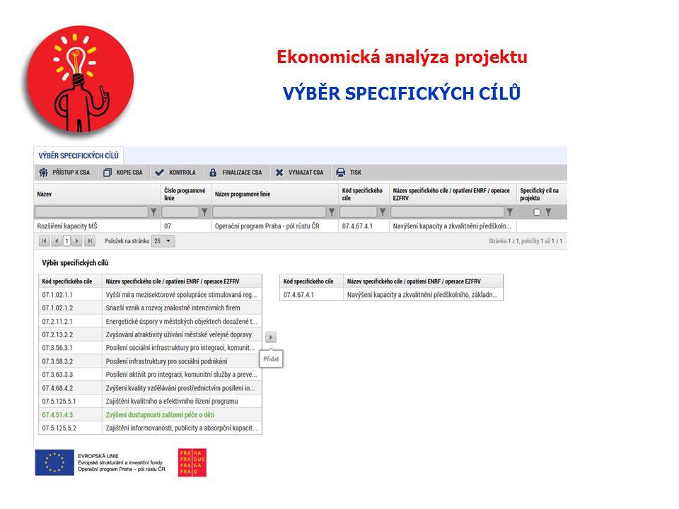 Ekonomická analýza projektu VÝBĚR SPECIFICKÝCH CÍLŮ