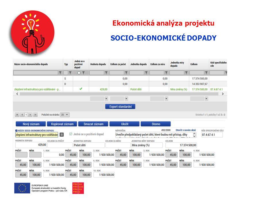 Ekonomická analýza projektu SOCIO-EKONOMICKÉ DOPADY