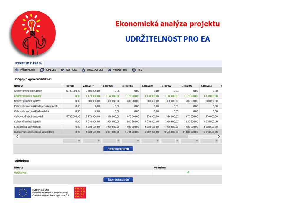Ekonomická analýza projektu UDRŽITELNOST PRO EA