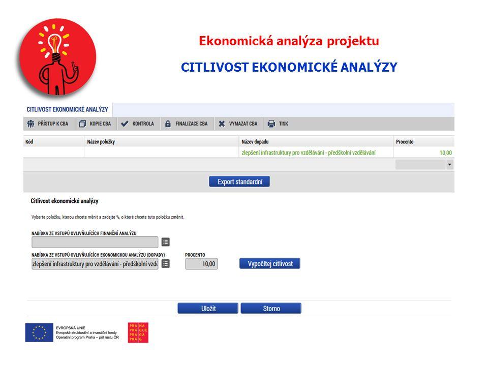 Ekonomická analýza projektu CITLIVOST EKONOMICKÉ ANALÝZY