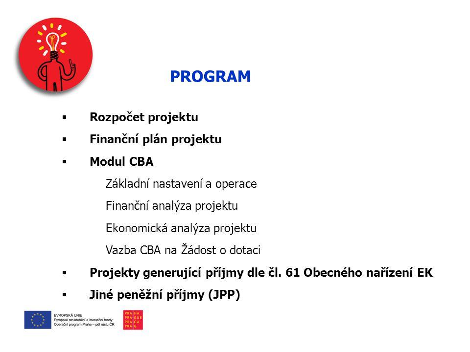 PROGRAM  Rozpočet projektu  Finanční plán projektu  Modul CBA Základní nastavení a operace Finanční analýza projektu Ekonomická analýza projektu Vazba CBA na Žádost o dotaci  Projekty generující příjmy dle čl.