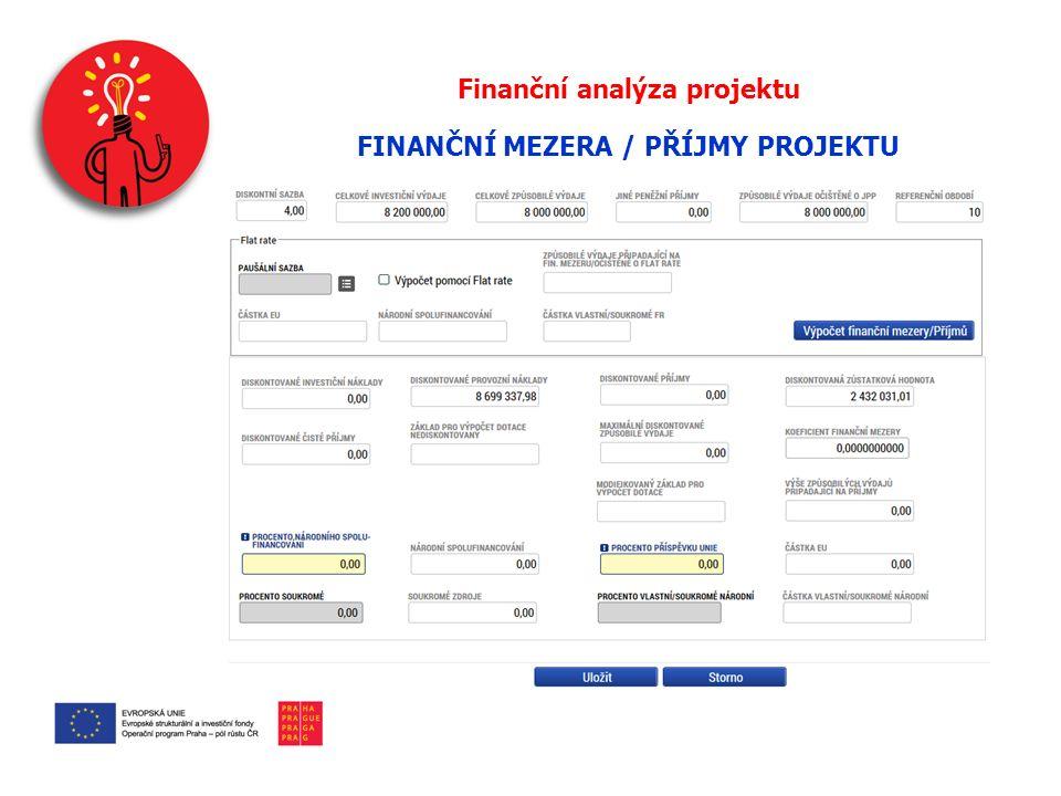 Finanční analýza projektu FINANČNÍ MEZERA / PŘÍJMY PROJEKTU