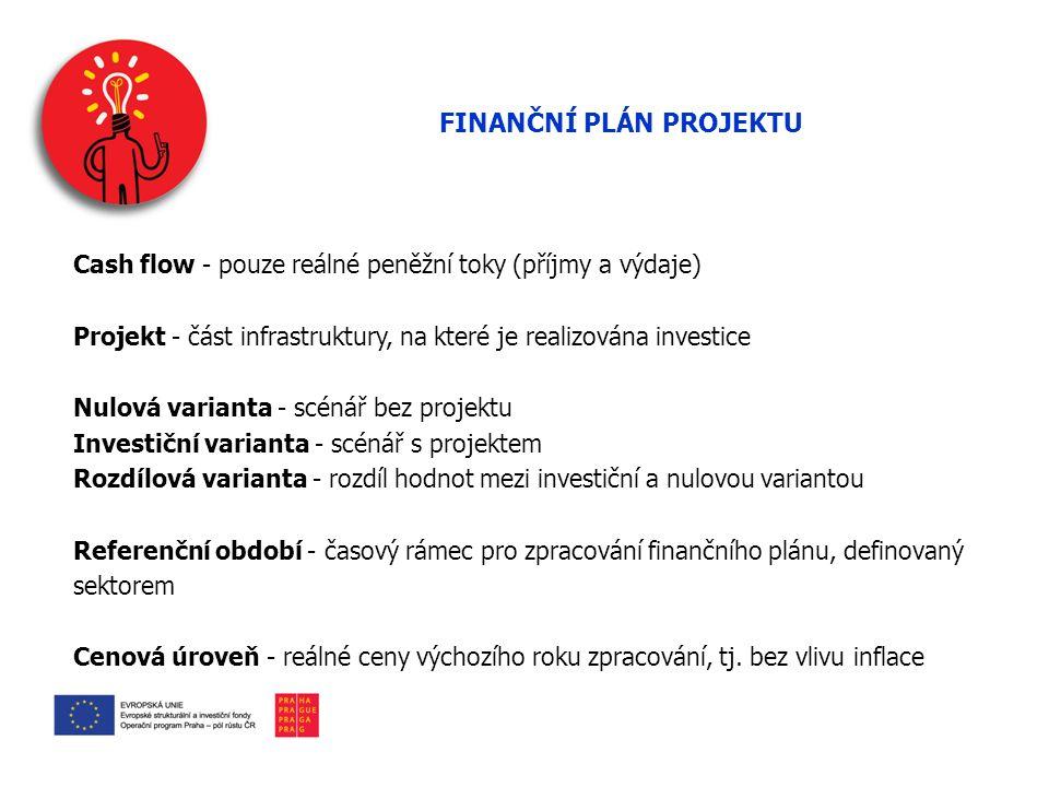FINANČNÍ PLÁN PROJEKTU Cash flow - pouze reálné peněžní toky (příjmy a výdaje) Projekt - část infrastruktury, na které je realizována investice Nulová varianta - scénář bez projektu Investiční varianta - scénář s projektem Rozdílová varianta - rozdíl hodnot mezi investiční a nulovou variantou Referenční období - časový rámec pro zpracování finančního plánu, definovaný sektorem Cenová úroveň - reálné ceny výchozího roku zpracování, tj.