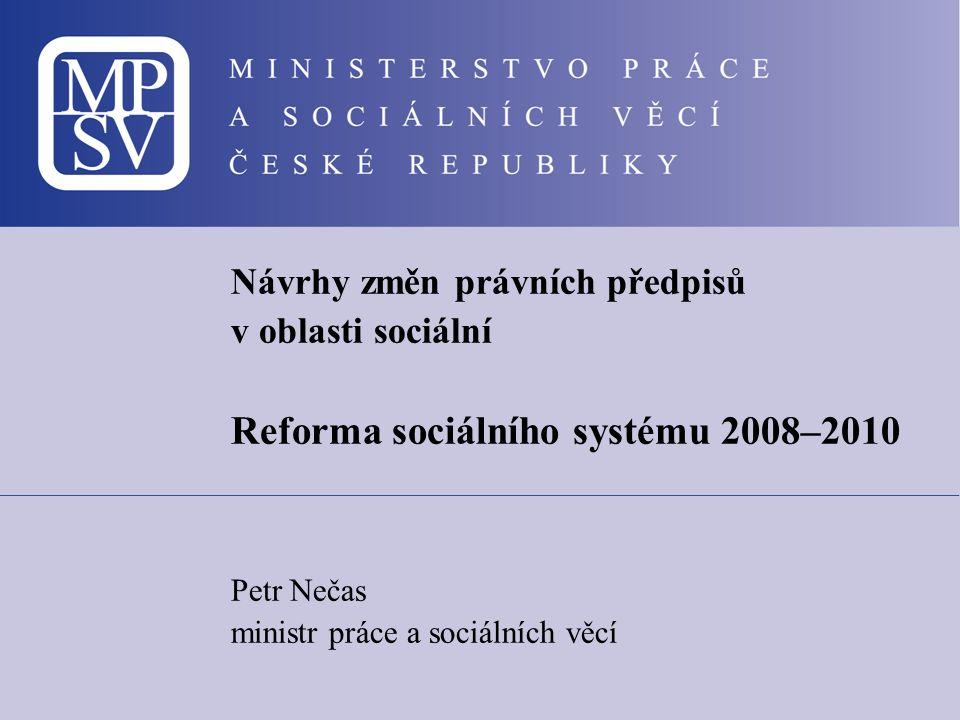 Návrhy změn právních předpisů v oblasti sociální Reforma sociálního systému 2008–2010 Petr Nečas ministr práce a sociálních věcí