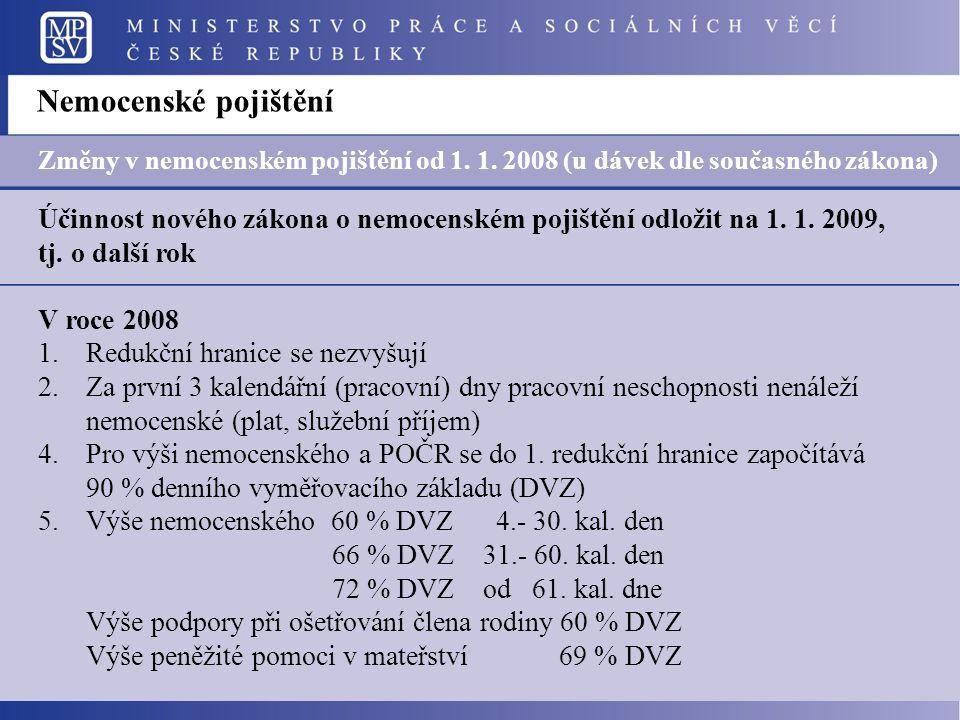 Účinnost nového zákona o nemocenském pojištění odložit na 1.