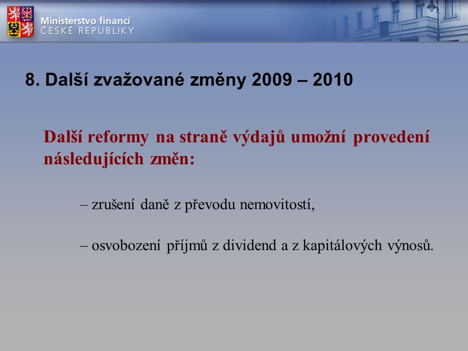 8. Další zvažované změny 2009 – 2010 Další reformy na straně výdajů umožní provedení následujících změn: – zrušení daně z převodu nemovitostí, – osvob