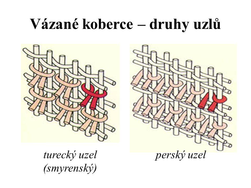 K vázání se používají dva druhy uzlů: -symetrický turecký uzel (známý také jako smyrenský) -asymetrický perský uzel (ghiordesský)