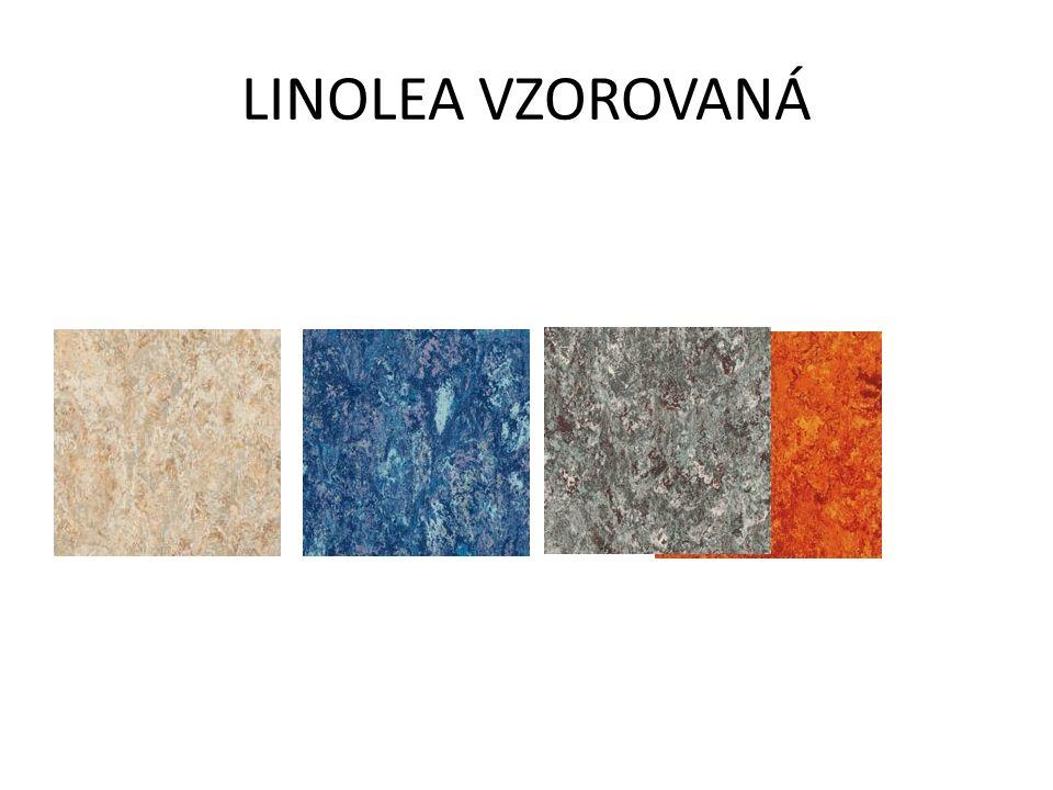 LINOLEUM -V ROLÍCH A ZÁMKOVÝCH LAMELÁCH -PŘÍRODNÍ MATERIÁL: korek, lněný olej, přírodní pryskyřice, vápenec, piliny a pigmenty na jutovém základě -BYT