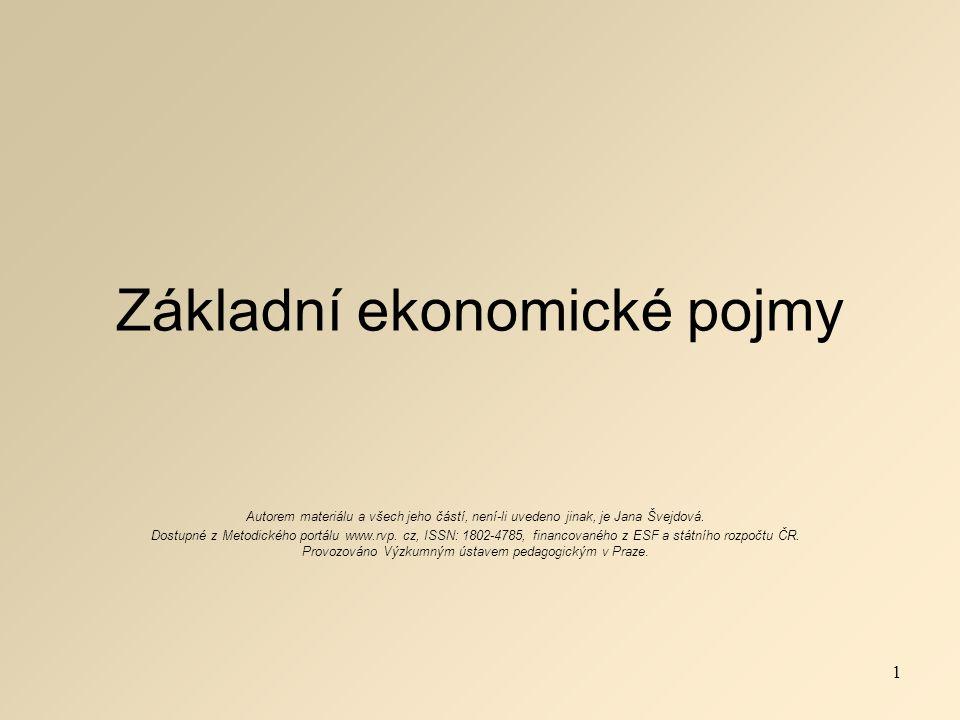 Základní ekonomické pojmy Autorem materiálu a všech jeho částí, není-li uvedeno jinak, je Jana Švejdová.