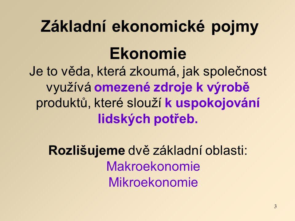 Základní ekonomické pojmy Ekonomie Je to věda, která zkoumá, jak společnost využívá omezené zdroje k výrobě produktů, které slouží k uspokojování lidských potřeb.