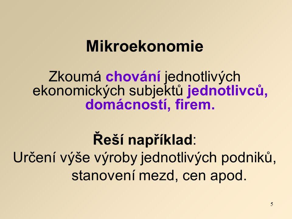 Mikroekonomie Zkoumá chování jednotlivých ekonomických subjektů jednotlivců, domácností, firem.