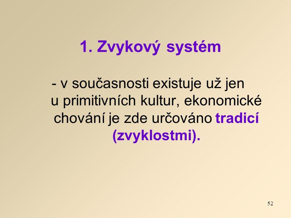 1. Zvykový systém - v současnosti existuje už jen u primitivních kultur, ekonomické chování je zde určováno tradicí (zvyklostmi). 52
