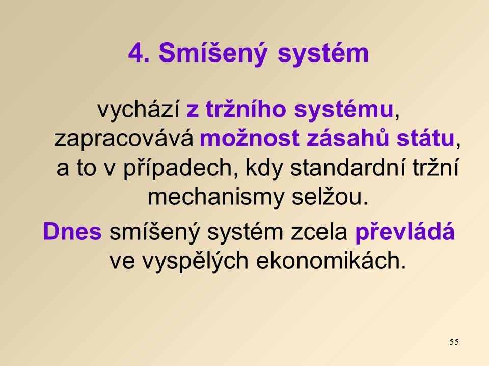 4. Smíšený systém vychází z tržního systému, zapracovává možnost zásahů státu, a to v případech, kdy standardní tržní mechanismy selžou. Dnes smíšený