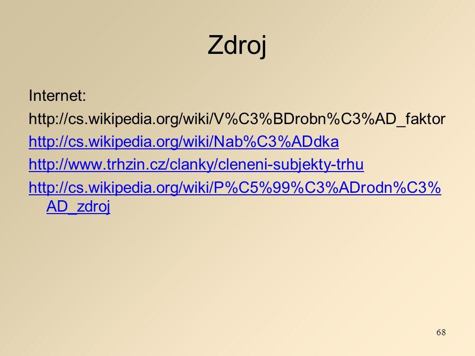 Zdroj Internet: http://cs.wikipedia.org/wiki/V%C3%BDrobn%C3%AD_faktor http://cs.wikipedia.org/wiki/Nab%C3%ADdka http://www.trhzin.cz/clanky/cleneni-subjekty-trhu http://cs.wikipedia.org/wiki/P%C5%99%C3%ADrodn%C3% AD_zdroj 68