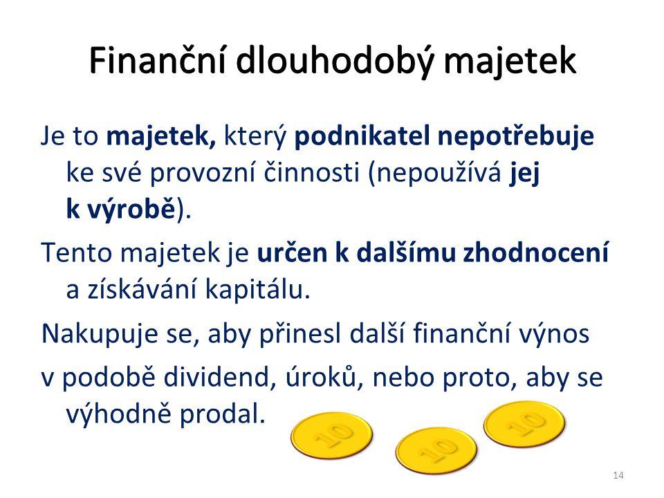 Finanční dlouhodobý majetek Je to majetek, který podnikatel nepotřebuje ke své provozní činnosti (nepoužívá jej k výrobě).
