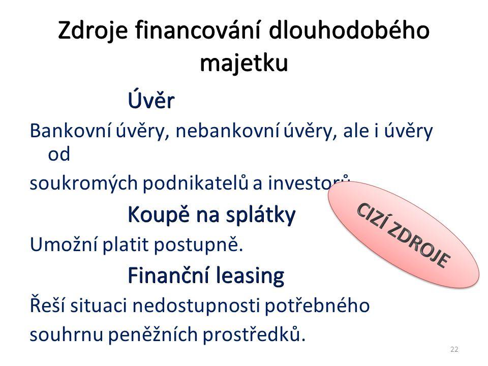 Zdroje financování dlouhodobého majetku Úvěr Úvěr Bankovní úvěry, nebankovní úvěry, ale i úvěry od soukromých podnikatelů a investorů.