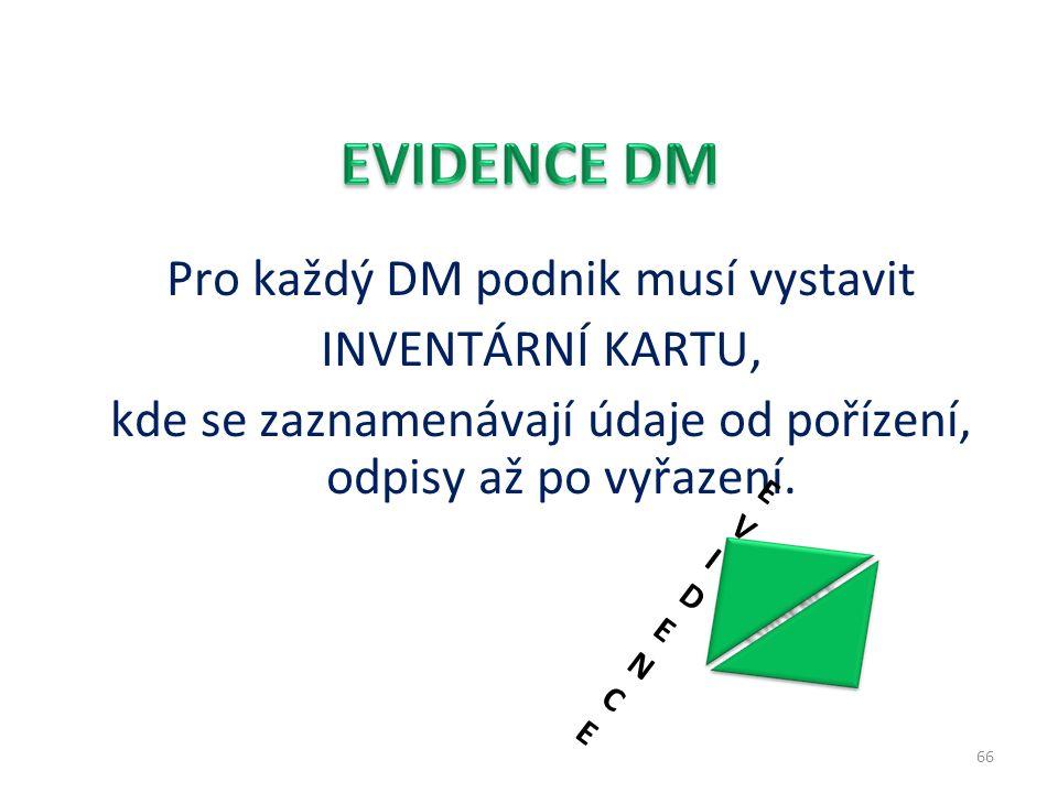 Pro každý DM podnik musí vystavit INVENTÁRNÍ KARTU, kde se zaznamenávají údaje od pořízení, odpisy až po vyřazení.