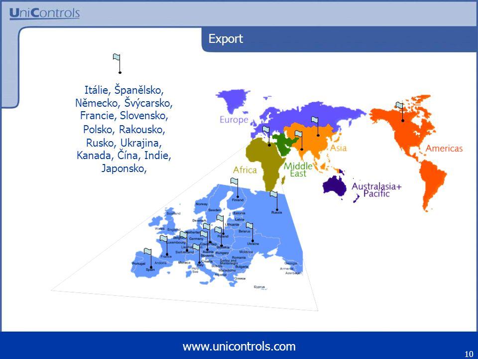 10 www.unicontrols.com Export Itálie, Španělsko, Německo, Švýcarsko, Francie, Slovensko, Polsko, Rakousko, Rusko, Ukrajina, Kanada, Čína, Indie, Japon