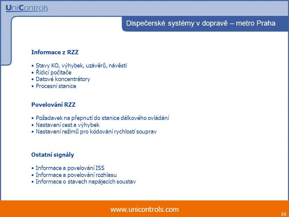 16 www.unicontrols.com Dispečerské systémy v dopravě – metro Praha Informace z RZZ Stavy KO, výhybek, uzávěrů, návěstí Řídicí počítače Datové koncentr