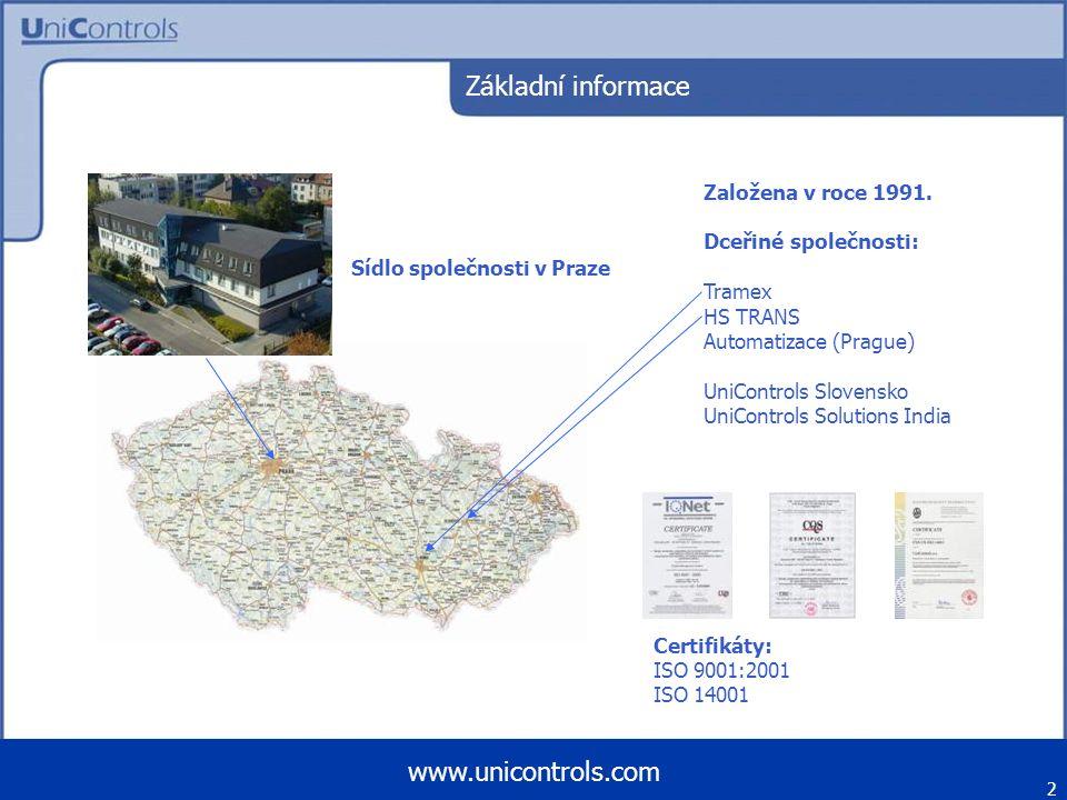 Základní informace Založena v roce 1991. Dceřiné společnosti: Tramex HS TRANS Automatizace (Prague) UniControls Slovensko UniControls Solutions India