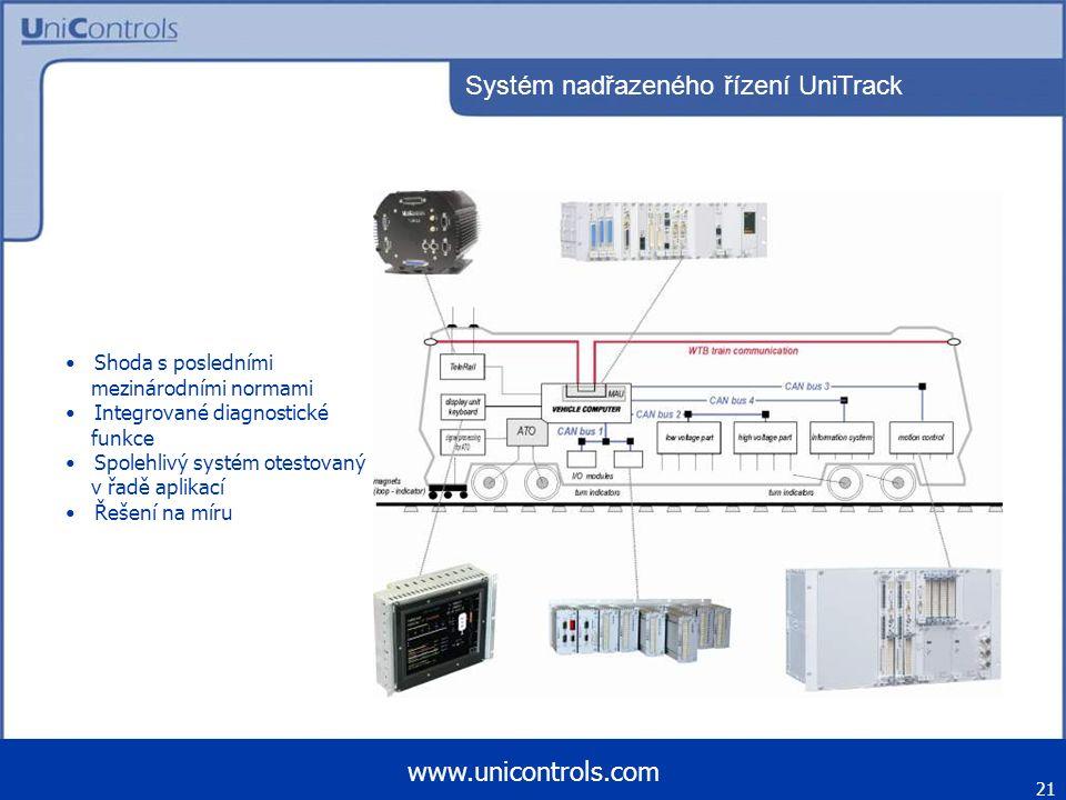 Systém nadřazeného řízení UniTrack 21 www.unicontrols.com Shoda s posledními mezinárodními normami Integrované diagnostické funkce Spolehlivý systém o