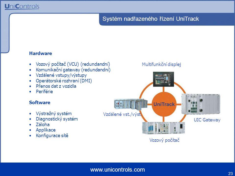 Systém nadřazeného řízení UniTrack 23 www.unicontrols.com Hardware Vozový počítač (VCU) (redundandní) Komunikační gateway (redundandní) Vzdálené vstup
