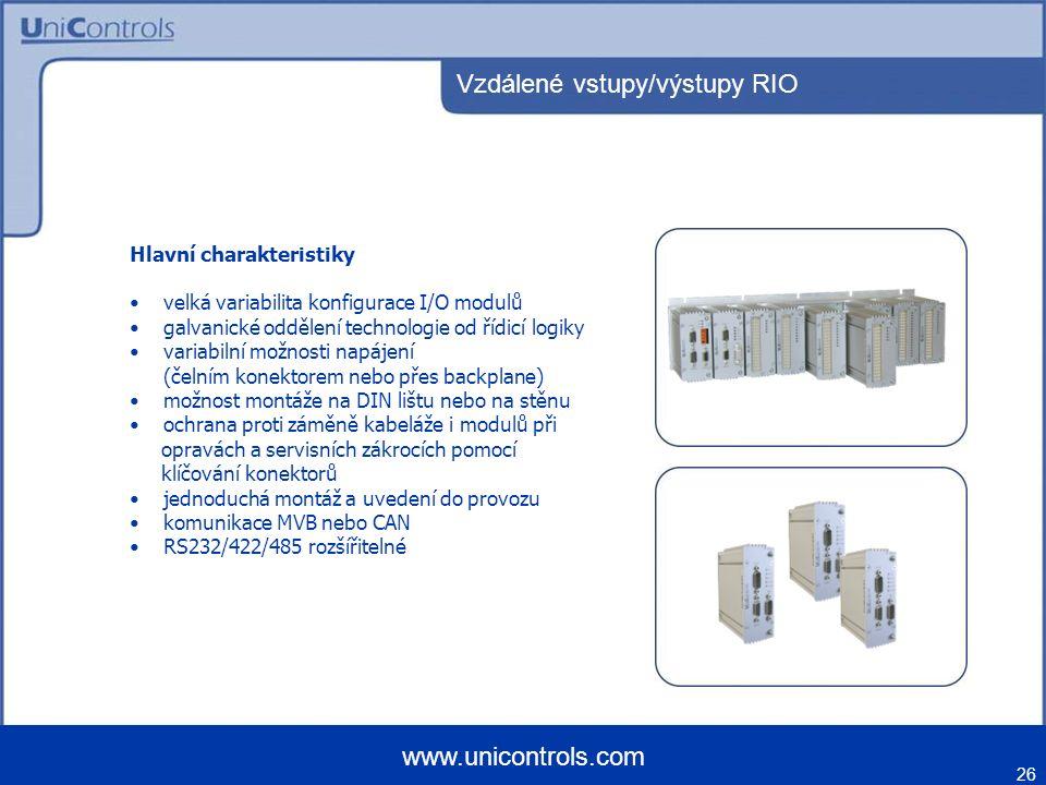 Vzdálené vstupy/výstupy RIO 26 www.unicontrols.com Hlavní charakteristiky velká variabilita konfigurace I/O modulů galvanické oddělení technologie od