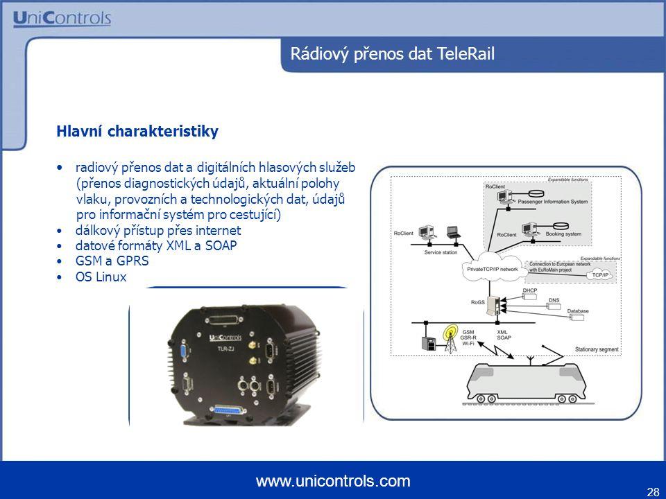 28 www.unicontrols.com Rádiový přenos dat TeleRail Hlavní charakteristiky radiový přenos dat a digitálních hlasových služeb (přenos diagnostických úda