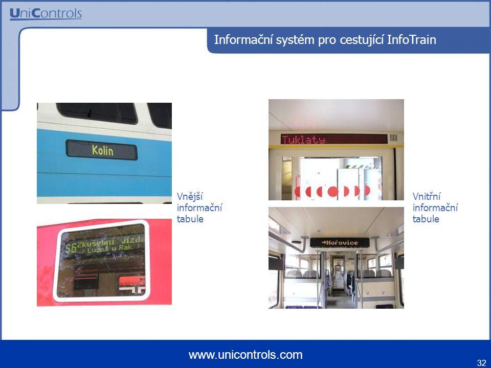 32 www.unicontrols.com Vnější informační tabule Informační systém pro cestující InfoTrain Vnitřní informační tabule