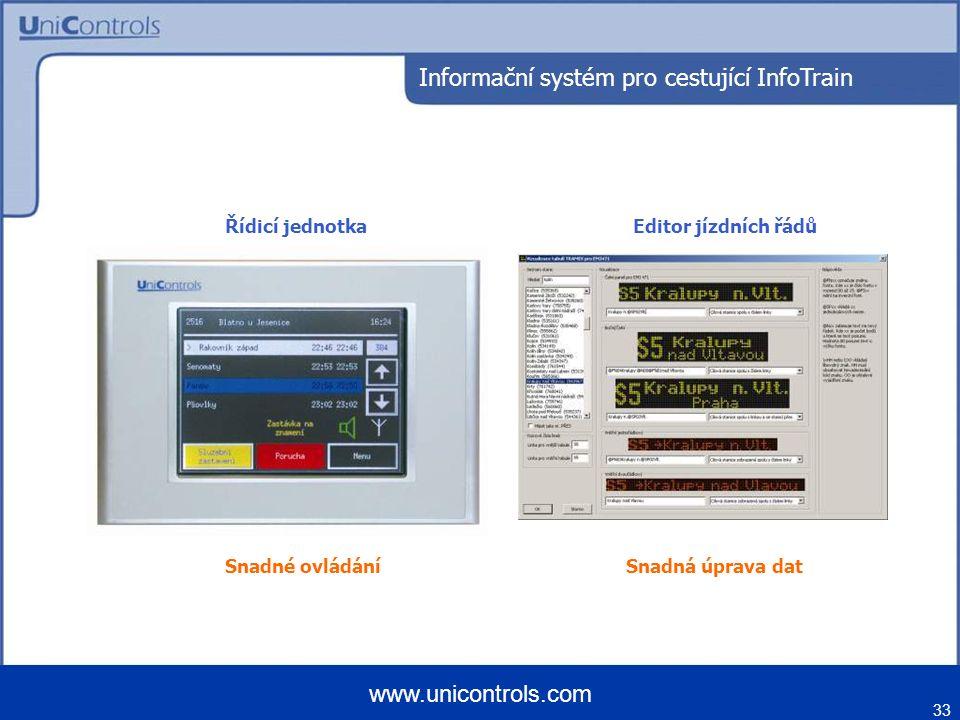33 www.unicontrols.com Snadné ovládáníSnadná úprava dat Řídicí jednotkaEditor jízdních řádů Informační systém pro cestující InfoTrain