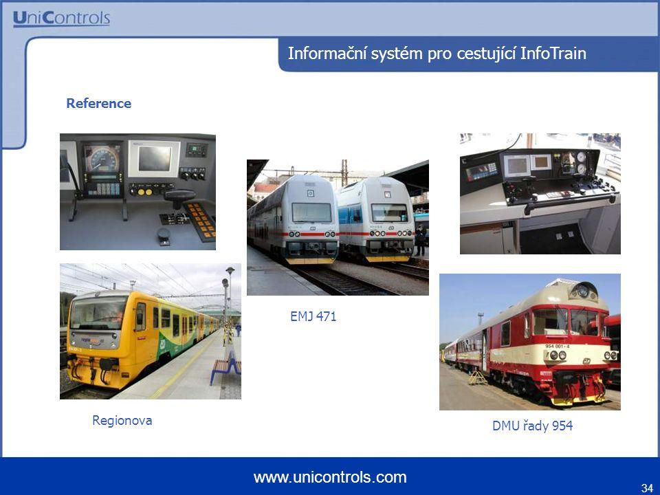 34 www.unicontrols.com Regionova DMU řady 954 EMJ 471 Reference Informační systém pro cestující InfoTrain