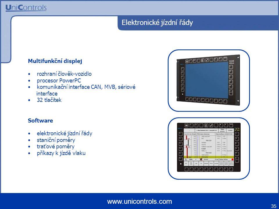 Elektronické jízdní řády Multifunkční displej rozhraní člověk-vozidlo procesor PowerPC komunikační interface CAN, MVB, sériové interface 32 tlačítek 35 www.unicontrols.com Software elektronické jízdní řády staniční poměry traťové poměry příkazy k jízdě vlaku