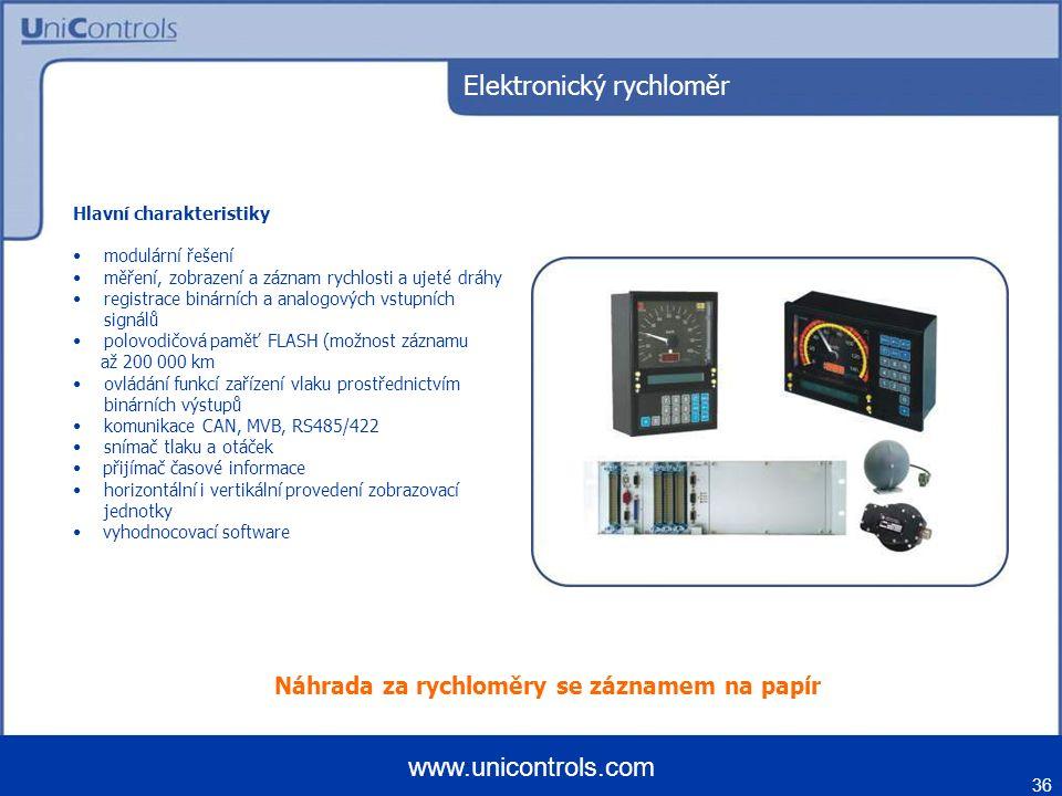 36 www.unicontrols.com Elektronický rychloměr Náhrada za rychloměry se záznamem na papír Hlavní charakteristiky modulární řešení měření, zobrazení a z