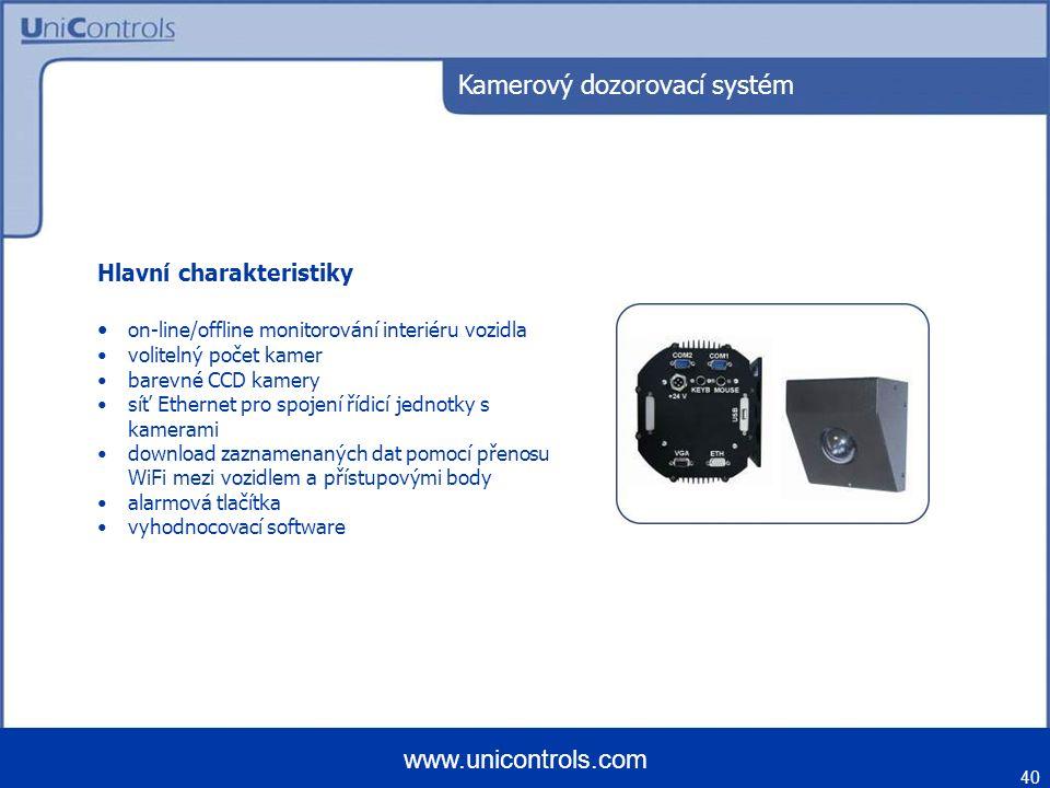 40 www.unicontrols.com Kamerový dozorovací systém Hlavní charakteristiky on-line/offline monitorování interiéru vozidla volitelný počet kamer barevné