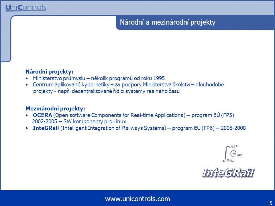 Národní a mezinárodní projekty Mezinárodní projekty: OCERA (Open software Components for Real-time Applications) – program EÚ (FP5) 2002-2005 – SW kom